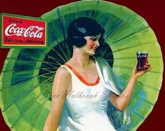 Digital Download Vintage PostCard and Calendar Images Beautiful Girls Drinking Coca Cola  0007