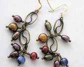 Yin Yang Pearl Earrings Brass Jewel Tone Freshwater Pearls Boho Chic Earrings