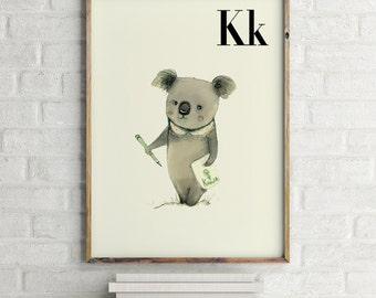 Koala print, nursery animal print, woodland nursery, alphabet letters, abc letters, alphabet print, animals prints for nursery