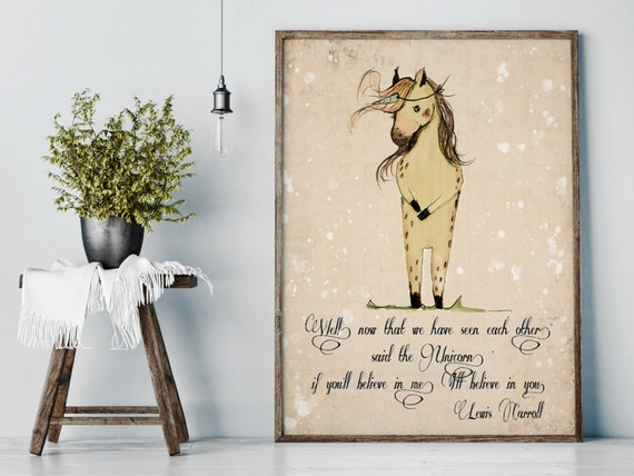 Unicorn quote, 'if you'll believe in me, I'll believe in you - Kids room decor -  Baby girl nursery - Nursery decor - Nursery art