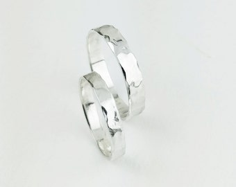 Faceted slim Warrior ring band, everyday stackable ring, wedding band for him and her, unisex for men and women, wide sterling silver ring