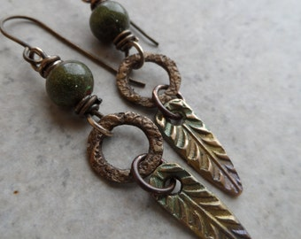 Forest Finds ... Bronze Metal Clay, Enameled Copper and Brass Wire-Wrapped Rustic, Boho, Floral, Woodland Earrings