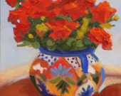 Still Life Oil Painting:  Red Geranium in Mexican Pot 8 x 10