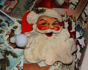Santa Claus Christmas Pin, Mid Century Style Santa, Ho Ho Ho, Saint Nick, Kris Kringle Coat Pin