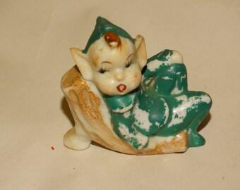 Christmas 1950's Elf Pixie Gnome Retro 50's Christmas Holiday Decor porcelain figure antique Made in Japan Christmas Fireplace Decor