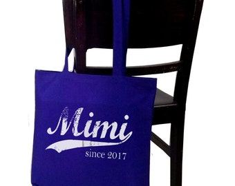 Mimi since ANY year, screen print canvas tote bag, personalized tote bag, Mother's Day Gift, Christmas gift, grandmother gift