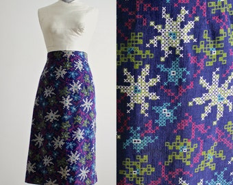 Corduroy Skirt • Pencil Skirt • 50s Skirt • Needlepoint Skirt • Tapestry Skirt • Floral Skirt • 1950s Skirt • Atomic Starburst Skirt L - XL