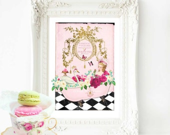 Marie Antoinette in a claw foot bath art print, French vintage decor in pink, A4 giclee