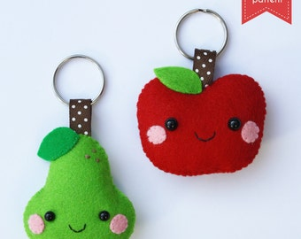 Apple & pear keychain - PDF sewing pattern