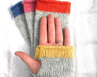 Orange and Grey Fingerless Gloves, pure wool Made in Scotland