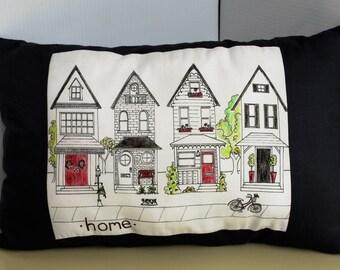 HOME  -  Row of Houses - Neighbors - Handmade Throw pillow
