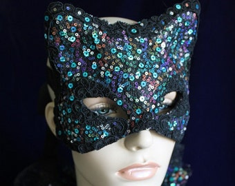 Bonfire Night Kitty Mask - Irridescent Sequin and Silk Lace Mask  - To order