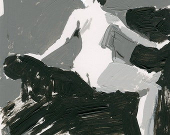 Original Acrylic Gesture Sketch Life Drawing of Sitting Female Nude Figure - Answering