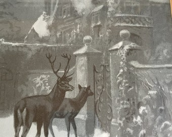Vintage Lithograph - Winter Deer Outside House - 1900s Wanderers