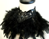 Black Lace Feather Collar Maleficent Choker Bib Necklace Vampire Queen Victorian Gothic Neck Corset Accessory Burning Man Handmade Beaded