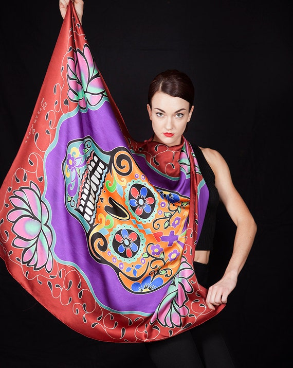 Hand Painted Silk Scarf with Day of the dead, dia de los muertos skull. Batik painted square scarf. Painted on Charmeuse Silk. 37 in x 43 in
