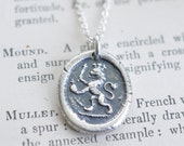 lion wax seal necklace pendant … courage, faith, authority - fine silver medieval wax seal jewelry