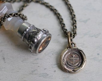 tiny anchor wax seal necklace - bronze anchor pendant ... hope - nautical antique wax seal jewelry