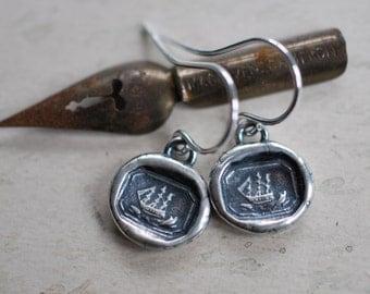 tiny ship wax seal dangle earrings - sailboat earrings - sterling silver nautical antique wax seal jewelry
