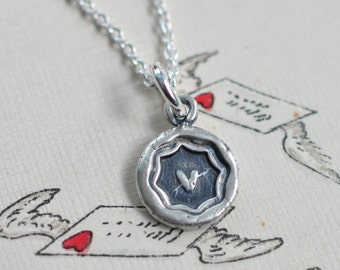 tiny pierced heart wax seal necklace … love, charity, sincerity - sealed with love gifts for her - sterling silver wax seal jewelry