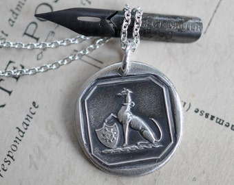 greyhound pendant wax seal - greyhound dog crest wax seal necklace … fidelity, alertness, affection - silver antique wax seal jewelry