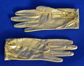 Vintage Small or Youth Gloves in Gold Lame - Day Gloves - Wrist Length Gloves