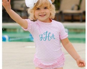 Monogrammed Swimsuit Pink Polka Dot 2 Piece FREE Monogram Riffled UV sun protection
