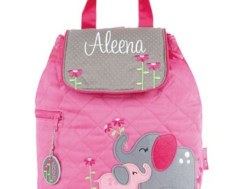 Girls Backpack Personalized Elephant Stephen Joseph Quilted Preschool Toddler