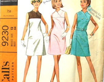 Dress with two-piece yoke Bust 34 Vintage Sewing Pattern McCalls 9230