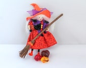 Halloween Felt Art Doll Diva witch in the orange hat Halloween decoration