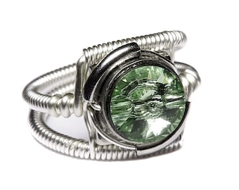 Cyberpunk Jewelry - RING - Green Chrysolite Swarovski Crystal