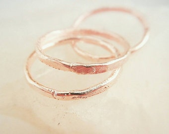 Hammered Copper Rings, Electroformed Stackable Rings, Stacking Rings, Hammered Copper Bands, Midi Rings, Dainty Rings