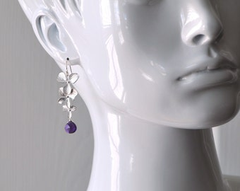 Silver Orchid and Purple Amethyst Earrings
