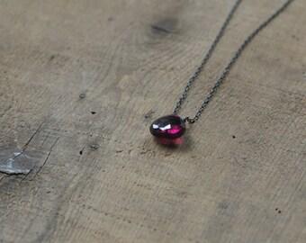 Pink Rhodolite Garnet on Oxidized Silver Chain Necklace Pendant