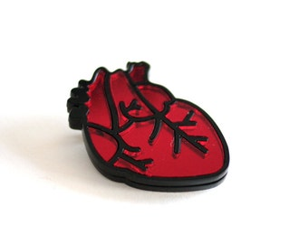 Anatomical Heart Brooch, Valentines Gift, Laser Cut Brooch, Inlayed Mirror Acrylic, Choice of Colour, Handmade in UK