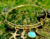 Mermaid jewelry, hand stamped jewelry, gold bracelet, starfish bracelet, beach wedding, gift for her, gift for coworker, beach jewelry