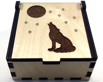 Wolf Jewelry Box, Howling Wolf, Wood Trinket Box, Small Jewelry Case, Laser Cut Box, Jewelry Storage Box, Wolf Wood Box, Jewelry Organizer
