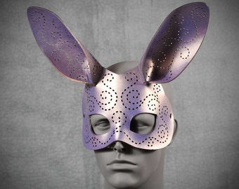Tatted Bunny mask in purple and gold