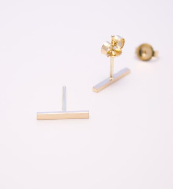 Flat Bar 14K Gold Earrings Gold Stud Earrings Everyday