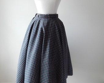 vintage . 1950s . skirt . floral . full . swing . circle skirt
