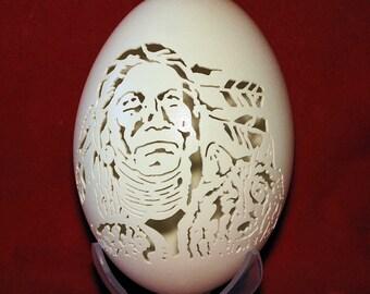 Hand Carved Rhea Egg - Native American and Wolf