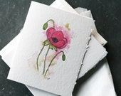 Set of 6 PINK POPPY Cards and Envelopes, Blank Interior, Post-consumer Recycled Paper, Floral, Flower