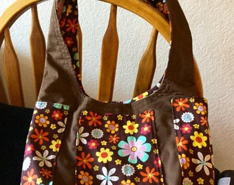 Top Knot Fabric Lined Purse, Snap Closure, Purse, Pouch, Hobo Bag, Brown Floral Print