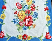 Vintage Printed Kitchen Towel, Cotton, Colorful Spring Flowers Roses with an Edge of Blue - Dishcloth
