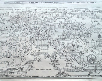 Vintage Map of the Architecture of Annapolis Maryland for the Last Three Centuries - by Rosalind Howe Sturges