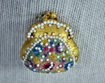 Antique Brass Hinged Pendant Purse - Keepsake Locket - Beaded and Petit Point