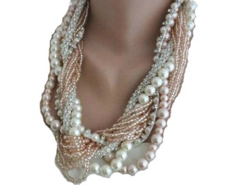 Pearl Necklace, Chunky Statement, Bold Pearl Bridal Jewelry,Pale Pink  Glass Pearl Necklace
