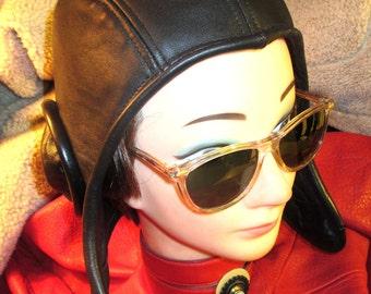 Black Leather Retro Aviator Hat (39)