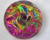 VINTAGE Iridescent Textured Glass BUTTON