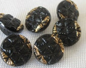 Set of 6 VINTAGE Small Black Glass with Gold Trim BUTTONS